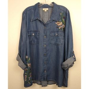 Style & Co Denim-Like Embroidered Shirt